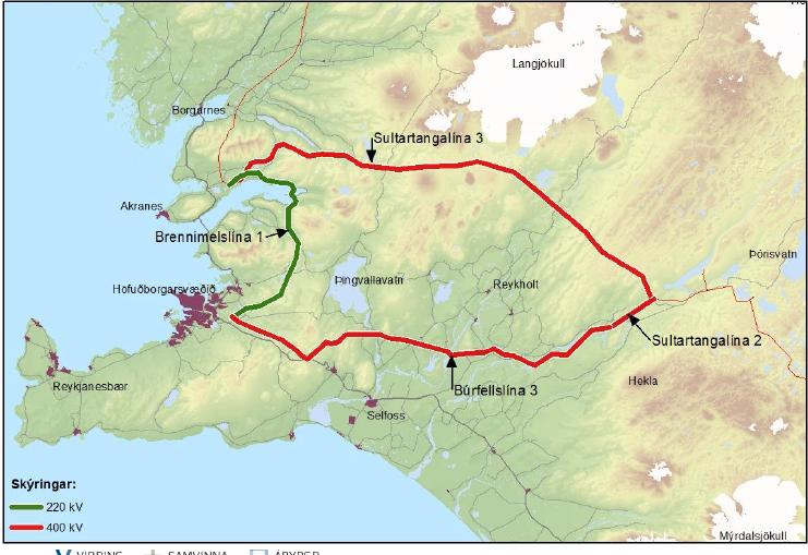 Landsnet fundar um styrkingu Brennimelslínu í Mosfellsbæ